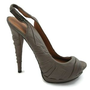 L.A.M.B. Leather Gray High Heel Sandal Sz 7M